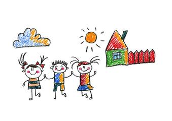 Kids drawing Happy children having fun Boy, girl, sister, brother Happy students School, kindergarten Children illustration Summer camping Summer vacation