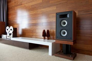 Vintage audio system in minimalistic modern interior