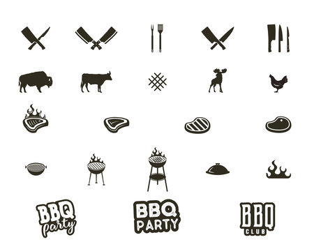 Steak house and grill silhouette textured icons. Black shapes isolated on white background. Included grill equipment, tools, elements and typography signs - bbq party concept and other.