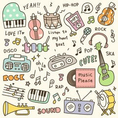 Set of Cute Music Instrument & Music Player