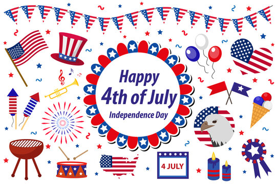 Independence Day America celebration in USA, icons set, design element, flat style. Collection objects for July 4th national holiday with a flag, map, barbecue, bunting, fireworks.Vector illustration