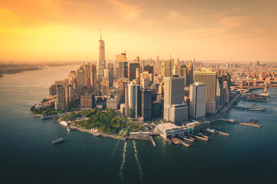 Aerial Views of the Downtown Manhattan Skyline