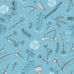Wall Mural - Floral vector seamless pattern with wild herbs, forest flowers and leaves. Vintage blue botanical background.