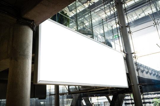 Blank billboard mock up on wall at airport terminal