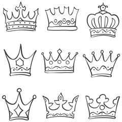 Sketch crown various doodle set