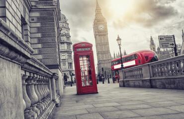 phone box and big ben, london, uk