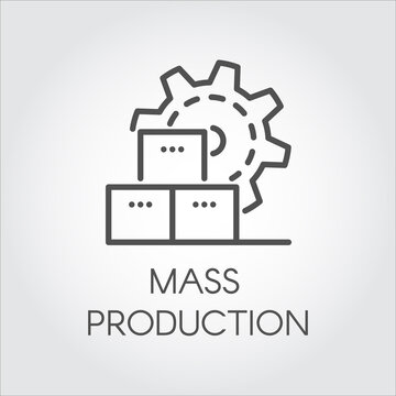 Icon in linear style of gear wheel. Mass production and modern machinery equipment concept. Contour pictogram or infographic element for different design needs. Vector illustration label