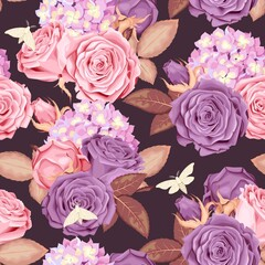 Beautiful roses and hydrangea seamless