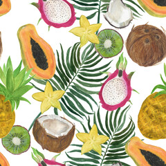 Watercolor painting seamless pattern with exotic fruits and palm leaves
