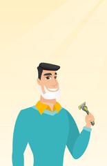 Man shaving his face vector illustration.