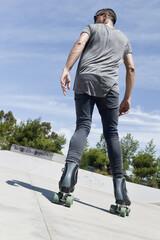 young man roller skating