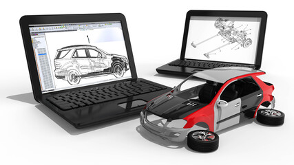 Car development  / 3D render image representing car development