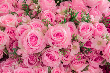 A bouquet of beautiful roses soft pink color presented on a beautiful background