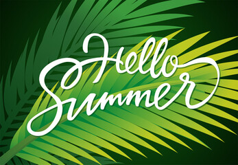 Hello Summer - vector leaflet template with brush lettering