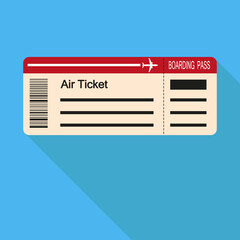 Image of the air ticket on a blue background. Flat design