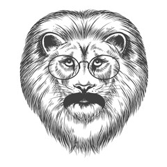 Foto op Plexiglas Hand getrokken schets van dieren Hipster lion isolated on white background, vector illustration. Lion with mustache and eyeglasses