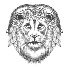 Door stickers Hand drawn Sketch of animals Boho style sketch lion. Vector hand drawn lion with flowers and feathers