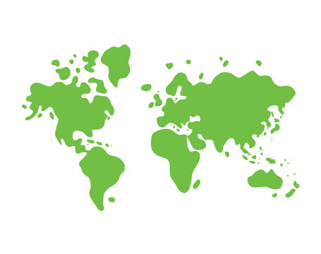 Green world map icon
