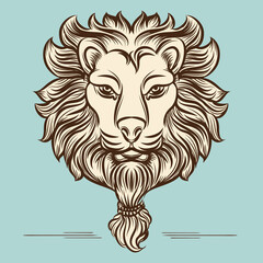 Vintage hand drawn lion print vector design on blue background