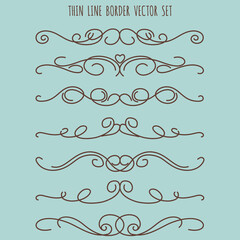 Hand drawn vintage thin line border set, vector illustration on blue background