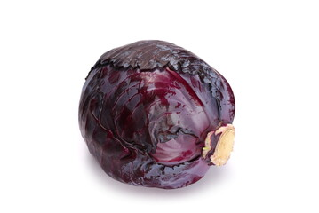 Red cabbage head isolated on white background