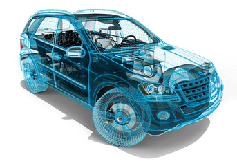 Wire Frame SUV / 3D render image representing an luxury SUV in wire frame