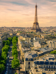 Photo Stands Paris Paris cityscape with Eiffel tower in twilight. view of Eiffel tower from Are de Triomphe