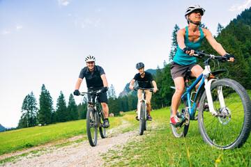 Family Of Three Cycling