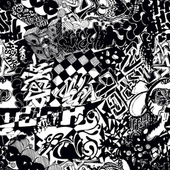 Black and white seamless pattern graffiti, sticker bombing