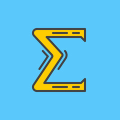 Greek letter sigma filled outline icon, line vector sign, linear colorful pictogram. Symbol, logo illustration. Pixel perfect