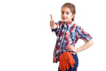 Little girl with orange gloves
