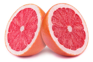 Perfectly retouched sliced halves of grapefruits isolated on the white background with clipping path