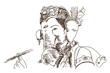Hand drawn sketch of Lord Ganesha in vector illustration.