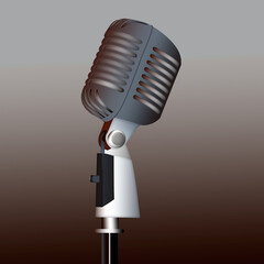 Vintage silver microphone isolated on the background