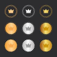 Krone Sieger - Bronze, Silber, Gold Medaillen