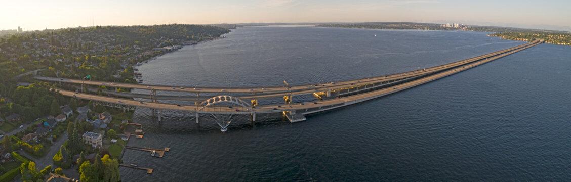 Interstate 90 Bridge Connecting Traffic From Seattle to Mercer Island Over Lake Washington Aerial Panoramic