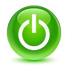 Power icon glassy green round button