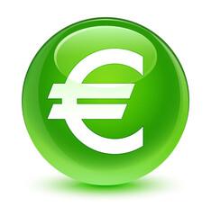 Euro sign icon glassy green round button