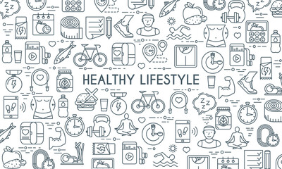 Healthy lifestyle banner. Design template with thin line icons on theme fitness, nutrition and dieting. Vector illustration Wall mural