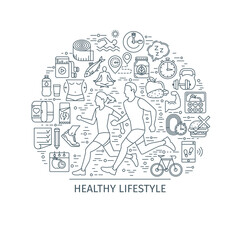Healthy lifestyle concept. Design template with thin line icons on theme fitness, nutrition and dieting. running man and woman. Vector illustration