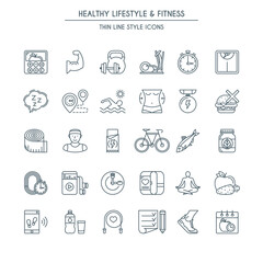 Healthy lifestyle thin line icons set. Modern icons on theme fitness, nutrition and dieting