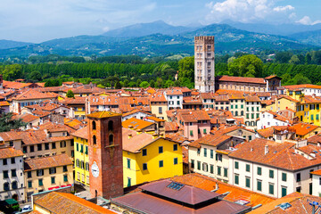 Aerial view of Lucca (Tuscany, Italy) during a sunny afternoon