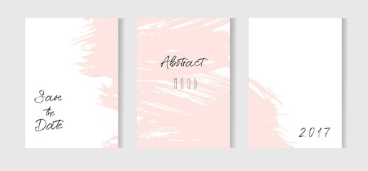 Hand drawn vector abstract creative unusual simple save the date cards template collection set with drawing textures in pastel pink colors.Boho Wedding,anniversary,birthday,party invitations,logo.