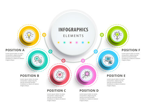 Circle infographics elements design. Abstract business workflow