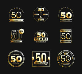 50th anniversary logo set with gold elements. Vector illustration.