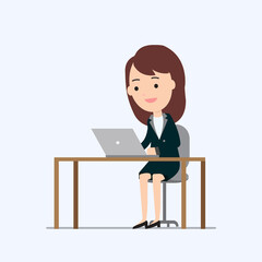 Business woman working on laptop and table with isolated white background vector and illustration.Business work concept.