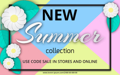 Summer sale background with beautiful colorful flower. Vector illustration template. voucher discount.