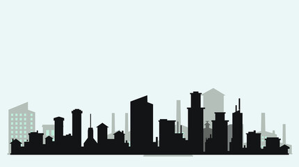 Silhouette level city with clouds and purple background