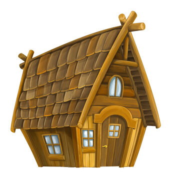 Old cartoon wooden house - isolated - illustration for children