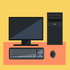flat person computer design icon with keyboard,mouse and Central Processing Unit on yellow background
